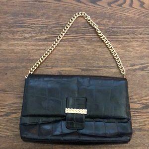 ANNE KLEIN for Calderon Leather Clutch Bag, Black